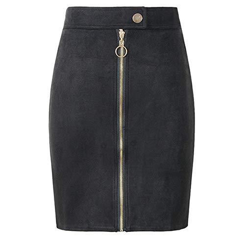 Mini falda de lápiz de ante para mujer estilo retro con cremallera frontal botones