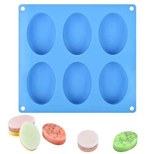 6 Cavities Silicone Molds for Soap Making, Reusable and Flexible Silicone Soap Molds for Customized Making Soap at Home, Easy to Release and BPA Free, Pack of 1 (Blue, Oval)