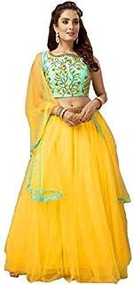 NENA FASHION Women's net Lehenga Choli (Diva Yellow X-Large)