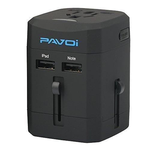 Pavoi All-in-One Reiseadapter Weltreiseadapter Universal Netzadapter Reisestecker Adapter Steckdosenadapter reise adapter Netz-Reiseadapter (USA UK EU AU) + 2.5A DUAL USB