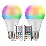 Bombillas LED Colores, 2 Piezas 10W LED RGBW Bombilla E27 con Mando, Función de Memoria y Temporizador, 12 Colores y 7 Niveles de Brillo, Bombilla Colores Regulable para Hogar, Decoración, Bar, Fiesta