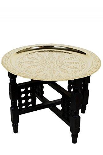 Marrakesch Orient & Mediterran Interior ® Orientalischer marokkanischer Tisch Beistelltisch Couchtisch Teetisch Mehdia - Goldfarbig, 60cm