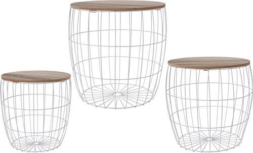 Fair-Shopping Tisch Beistelltisch Couchtisch Sofatisch Ablagetisch Holztisch mit Metallkorb div. Größen Schwarz oder Weiß (Weiß, 3tlg. Alle Größen)