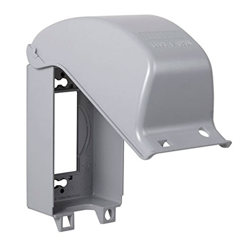 TayMac MX3200 Single Gang Vertical Metal Weatherproof Receptacle Cover, Gray Finish