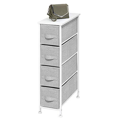 mDesign Narrow Vertical Dresser Storage Tower - Sturdy Metal Frame, Wood Top, Easy Pull Fabric Bins...