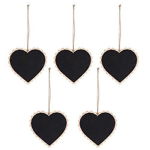 GARNECK 5 Unids Corazón Pizarra Letrero Corazón de Madera Pizarra Boda Colgante Tablero de Mensajes Decoración del Partido para El Día de San Valentín Hogar