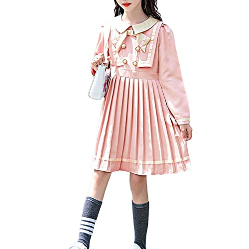 Agoky Vestido Marinero Plisado de Manga Larga para Nias Disfraz de Uniforme Escolar de Colegiala 5-14 Aos Rosa 7-8 aos