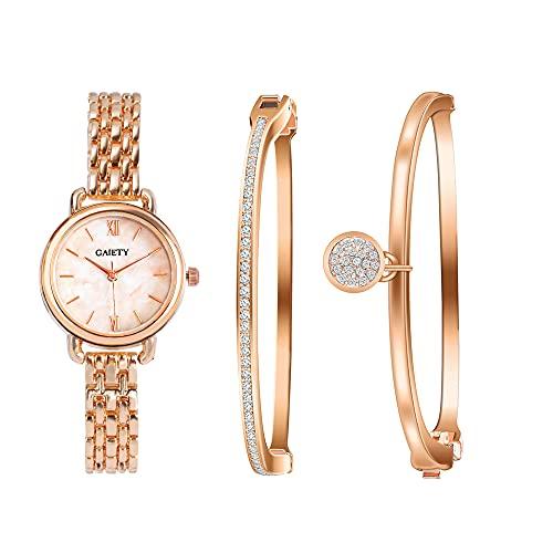 Clastyle Conjunto Reloj Pulsera Mujer Oro Rosa Clásico Relojes Mujeres Mármol con 2 Brazaletes Diamante de Imitación, Blanco