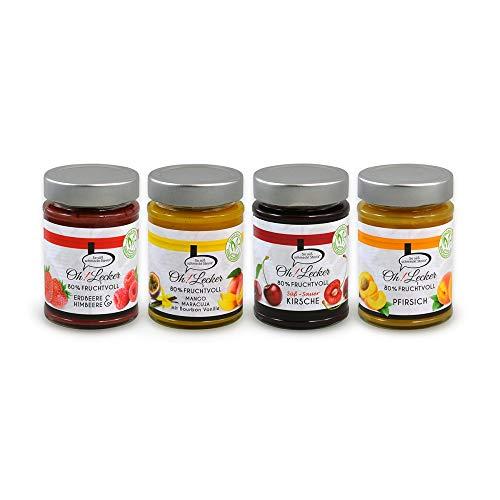 4 Sorten Oh! Lecker low-carb 80{d42d4283a0ad7628004fd750e9410f55396848154bdb460e46b6acdec03dd248} Frucht Erdbeere,Mango,Kirsche,Pfirisch Stevia Fruchtaufstriche a 180 g| ohne Zuckerzsuatz & Konservierungsstoffe| Vegan| Glutenfrei| paleo| keto