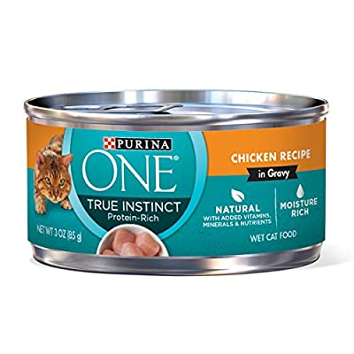 Purina ONE Natural, High Protein, Gravy Wet Cat Food, True Instinct Chicken Recipe - (24) 3 oz. Pull-Top Cans
