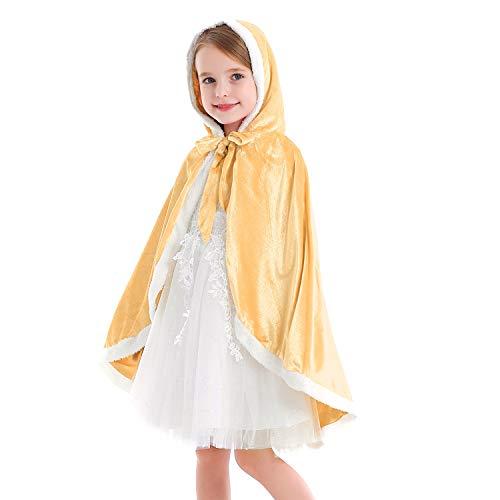 Tyidalin Capa de princesa para nios, nias, disfraz de invierno, para cosplay, fiestas, Halloween, Navidad, Carnaval, con capucha amarillo 128/134 cm