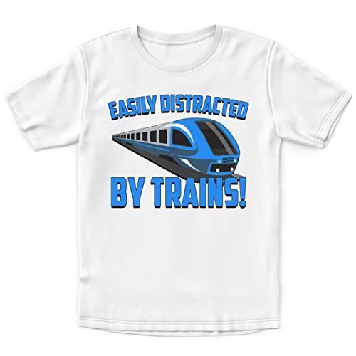 """T-Shirt für Kinder mit der Aufschrift """"Easy Distracted by Trains"""" – lustiges Geschenk für Sohn und Tochter – Zugleiter-T-Shirt Gr. 9-11 Jahre, weiß"""