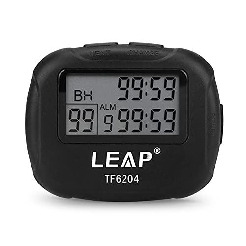 Cronómetro Digital Deportivo, Temporizador de Intervalos con Alarma para Correr, Entrenar, Fútbol, árbitro y Entrenador (Sin batería)