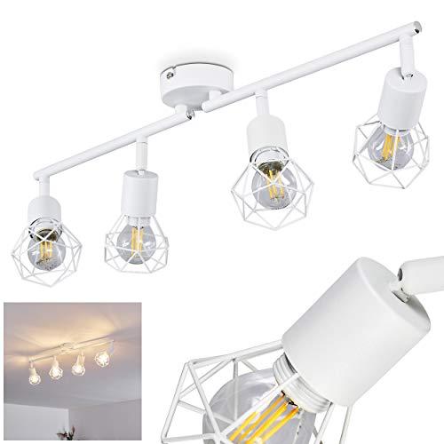 Deckenleuchte Baripada, Deckenlampe aus Metall in Weiß, 4-flammig, 4 x E14-Fassung max. 40 Watt, verstellbarer Spot im Retro/Vintage Design in Gitter-Optik m. Lichteffekt an der Decke, LED geeignet
