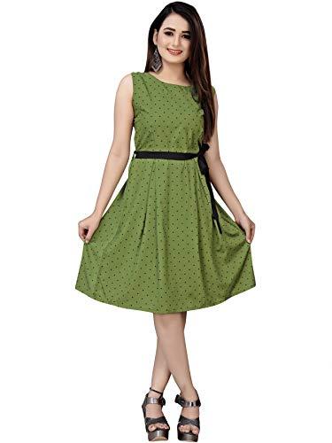 AA Creation Women's Knee Length Dress (dresses for women western kurti_Green_2XL) (dresses for women western kurti_Green_2XL)