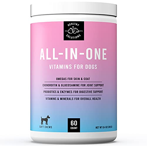 All-in-One Dog Vitamins & Supplements - Dog Multivitamin Supplement for Joint Support, Digestion, Skin, & Coat - Plus Omega-3, 6, 9 - Ultimate Daily Vitamin for Dogs - Made in USA, 60 Soft Chews