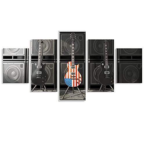 5 Stück Leinwanddrucke Wandkunst, Gitarrenbild auf Leinwand, Wandkunst, Gitarre, USA-Flagge, Leinwandkunst, gerahmt & fertig zum Aufhängen, moderne Heimdekoration