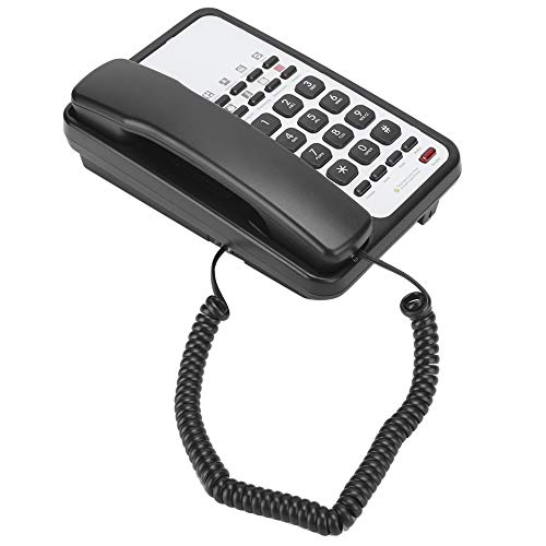 Teléfono de Escritorio con Receptor, Teléfono Fijo Multifuncional con Cable, Manos Libres Rellamada Automática,Montaje en Pared Teléfono de Escritorio para el Hogar, Oficina Comercial(Negro)