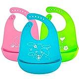 Maojuee Wasserdicht Lätzchen Baby Lätzchen Abwaschbar Weiches Lätzchen Silikon mit Einfacher Reinigung Wasserdichtes Silikon-Lätzchen für Kinder aus 3 Farben
