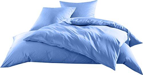 Mako-Satin Baumwollsatin Bettwäsche Uni einfarbig zum Kombinieren (Bettbezug 135 cm x 200 cm, Hellblau)