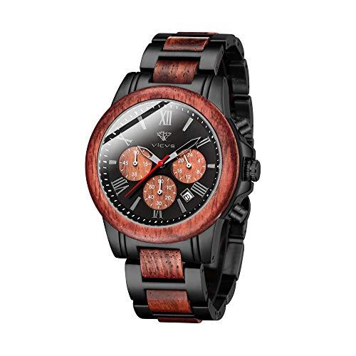 VICVS Reloj de Madera y Acero Inoxidable para Hombre cronógrafo 3 diales cronógrafo Cuarzo Ocio Negocios multifunción Reloj de Madera para Hombre Hecho a Mano. (Sandalwood)
