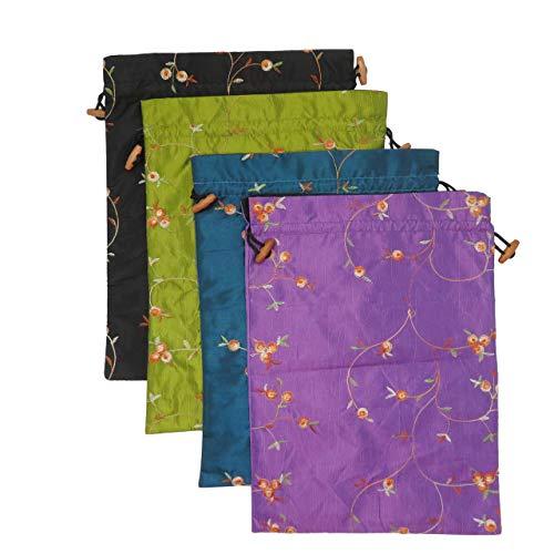 DODOGA 4pcs Embroidered Silk Flower Design Jacquard Travel Bag, Lingerie Bags Underwear Bags Laundry Bags Shoe Bags for Travel Storage for Men Women Washable Cloth Shoe Bags
