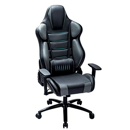 Blue Whale Massage Gaming Chair with Metal Base,Thickened Seat Cushion,Segmented Padded Designed Back,Adjustable Aluminum Alloy Armrest,Swiving PU Leather Office Game Chair