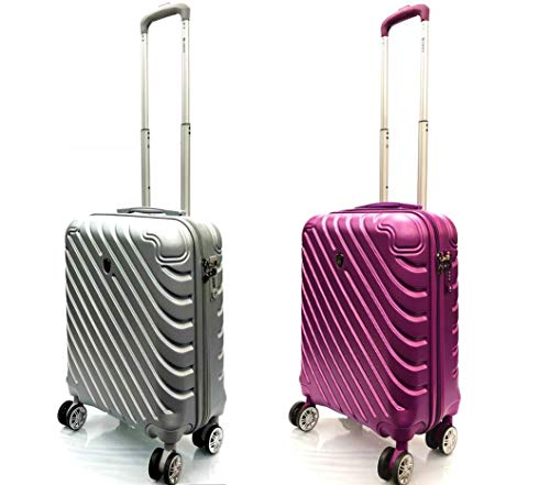 21' 55x40x20cm Super Lightweight 4 Wheel Spinner Carry On Cabin Hand Luggage Suitcase Travel Trolley Flight Bag Case (Set of 2-55x40x20cm, Silver + Purple)