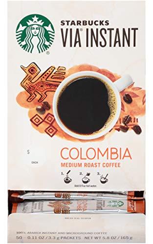Starbucks Via Instant Colombia Medium Roast Packets Coffee (Pack of 50)