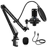 Microphone à condensateur USB pour ordinateur PC - Kit de microphone professionnel avec bras réglable - Support antichocs pour gaming, studio, podcast, enregistrement vidéo YouTube