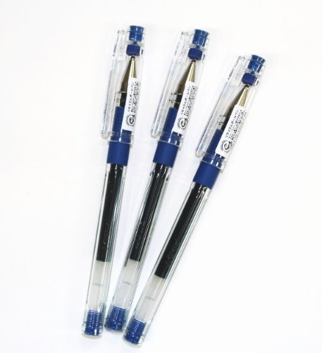 Pilot Hi-tec-c Gel Rolling Ball Pens, Ultra Fine Point,rubber Grip Type,-0.3mm-blue Ink-value Set of 3
