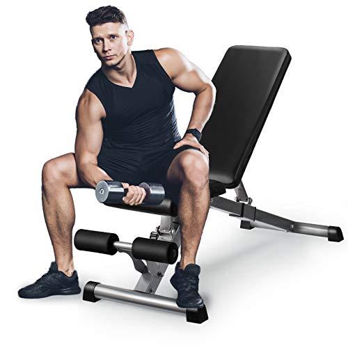 GOXIFAC Verstellbare Hantelbank – zusammenklappbare Fitness-Hantelbänke für Heimgymnastik-Übungen, Mehrzweck-Neigungs- und Neigungs-Workout-Bank für Ganzkörper-Gewichtheben und Krafttraining