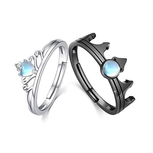 Anillo de pareja de plata de ley 925, Anillo de corona ajustable de piedra lunar para hombres y mujeres, anillo de promesa a juego para parejas, juego de 2