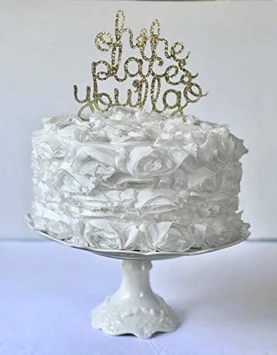 Oh De Plaatsen Je gaat Cake Topper, Geslacht Seks, Neutrale Openbaring, Gelukkige Verjaardag, Feestglitter Decoratie, Hij of zij, Boho Decor voor Baby