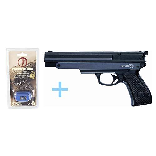 Gamo Pack Pistola Aire Precomprimido PR-45 / Full Metal, Pistola de balines, Potencia de 3 Julios, Calibre 4.5 mm, Pistola de perdigones, ausencia de Vibraciones + Candado de Seguridad Yatek.