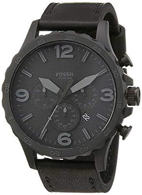Fossil Men's Nate Quartz Leather Chronograph Watch, Color: Black, Black (Model: JR1354)