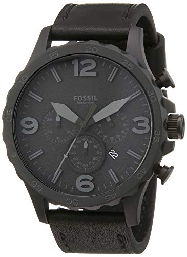 Fossil Men's Nate Quartz Leather Chronograph Watch, Color: Black, Black (Model: JR1354)