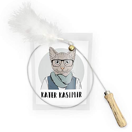 Jouet à plumes pour chats, Canne à pêche, avec manche en bois et tige robuste en acier. Fabriqué à la main et avec amour en Europe