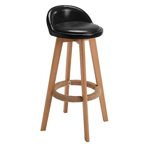 MTCGH Stühle, Hochstühle, Barstühle, Hocker Swivel Bar Hocker Stühle Höhe Fußstütze Küche Frühstück Bistro Wasserdicht Gepolstet,Schwarz,73 Cm.