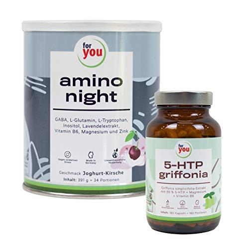 for you 5-HTP griffonia & for you amino night - Joghurt-Kirsche I Mit amino night Aminosäuren & Lavendel entspannt durch die Nacht | 180 Kapseln mit 100g hochreinem 5- HTP Griffonia Simplicifolia