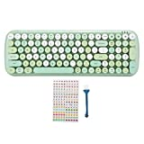 Tastiera senza fili del computer Tastiera da gioco Multi-dispositivo Chiave rotonda vintage Tastiera Bluetooth 5.1 Tastiera per tablet portatile per telefono cellulare, per Win, Android, ISO(verde)