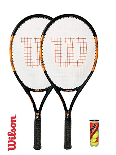 Wilson Burn Pro 105 Graphite Raqueta de Tenis (Varias Opciones) (2 x Raqueta de Tenis, Funda y Pelotas)