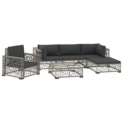 vidaXL 6pcs Garden Furniture Set with Cushions Resin Woven Grey