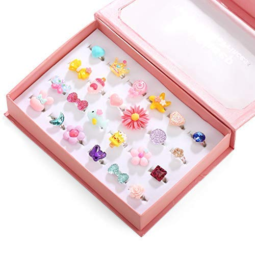 Powerking Girl Rings, Adjustable Jewelry Rings Set and Play Dress Up Rings for Kids and Little Girls, Mermaid/ Butterfly/Flower Rings 24 PCS