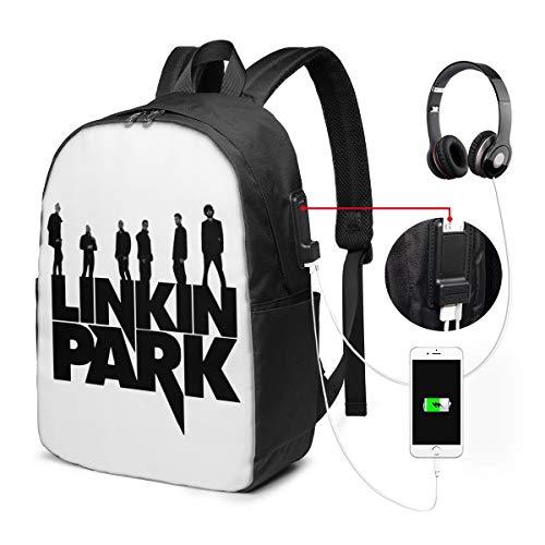 バックパック17インチベルト バックパック ビジネスバックパック ランドセル 登山バッグ リンキン パーク 充電ポート ヘッドフォンポート ラベル 防水 旅行 ユニセックス 大容量 ストレージレジャー