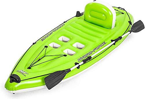PJZEDPA 1er Kajak aufblasbar Fischerboot Falten Tragbares,aufblasbares Kajak Cove Champion mit Paddel mit Paddel, Pumpe, Tasche 270 x 100cm, Color (grün)