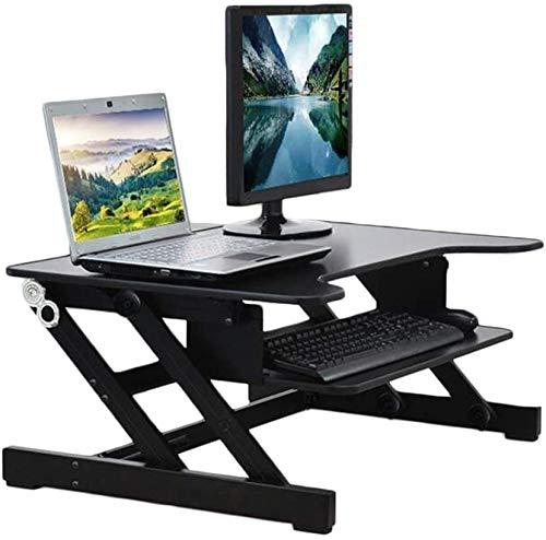 MWXFYWW Computer Standing Desk Riser, Sit to Stand Workstation Ergonomic Desktop Converter Laptop Riser for the Home or Office, Height Adjustable, Black