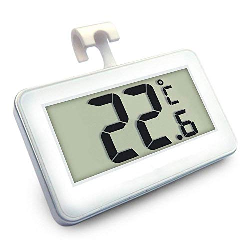 Kühlschrank Thermometer Digital Kühlschrank Thermometer Kühlschrank Temperatur LCD Digital Kühlschrank Gefrierschrank Thermometer Monitor mit Aufhängehaken und versenkbarem Ständer (weiß)