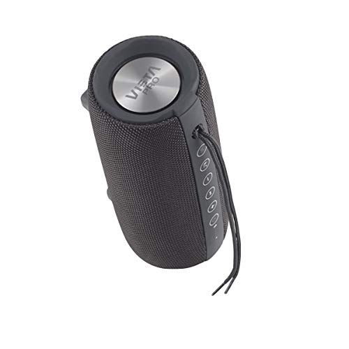 Vieta Pro Upper - Altavoz portátil (Bluetooth, Radio FM, micrófono integrado, True Wireless Dual pair, Reproductor USB, Lector de tarjeta Micro SD, Resistencia al agua IPX6) color negro