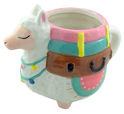Myxx Ceramic Pastel Llama with Suitcases Shaped Coffee Mug, 22 Ounce